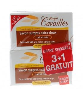 ROGE CAVAILLES LOT DE 3 SAVONS LAIT ET MIEL +1 OFFERT