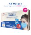 """AB MASQUE """"MASQUE DE PROTECTION JETABLE 3 COUCHES"""" Boite de 10"""